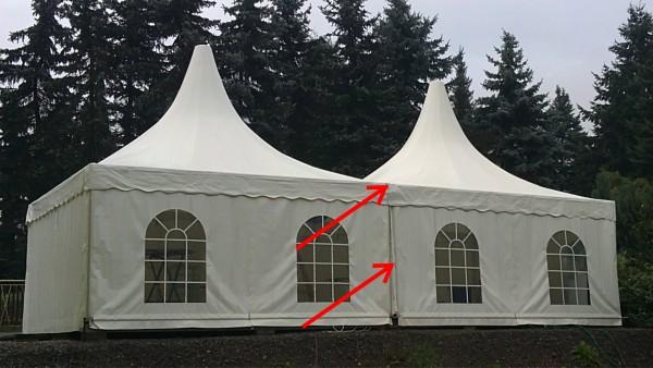 Regenrinne zur Verbindung von 2 Zelten