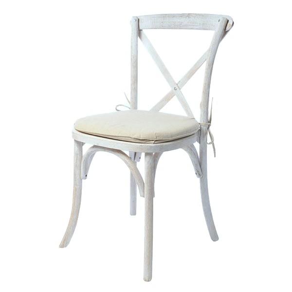 Holzstuhl Landhaus - Crossback Stuhl weiß